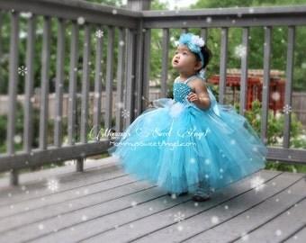 Elsa tutu dress, train, & matching hairpiece. Ice Princess tutu dress.  Halloween costume. Frozen tutu dress. Princess birthday tutu dress.