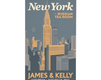 Downtown New York Wedding Personalized Art Save The Date Magnets (Large, 200 QTY)