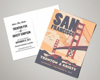 Golden Gate Bridge Wedding Personalized Art Save The Date Postcards (200 QTY)