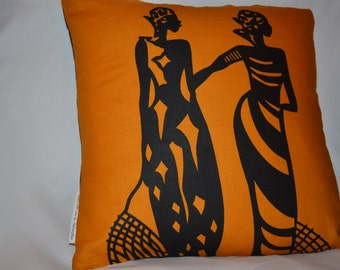 African Print Throw pillow covers - 14 by 14 inches with zipper closure. Pillow INSERT NOT INCLUDED.