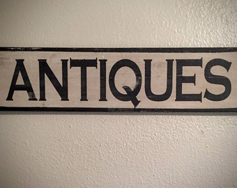 Antiques wood sign, wooden antiques sign