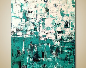 Large Green and White Textured Art Large Painting Original Abstract Painting Palette Knife Acrylic Paintings on Canvas Contemporary Art