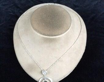 Vintage Rhinestone Circle Pendant Necklace