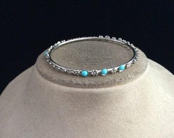 Vintage Blue Beaded Floral Bangle Bracelet