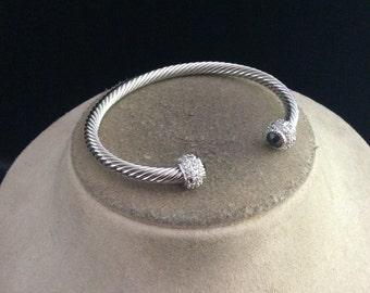 Vintage Black & Clear Rhinestone Cuff Bracelet