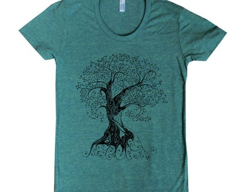 Women's Tree with Roots American Apparel t shirt with a whimsical design available in 16 colors size S M L XL
