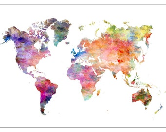 PS0816 Poster Print Paint Map World EUROPE Asia AMERICA AFRICA
