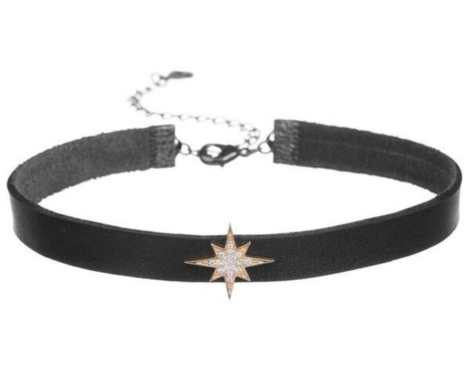 Black Leather Choker Black Choker Leather Necklace Choker Necklace Black Necklace 90s Choker Boho Choker Handmade Choker Bohemian Choker
