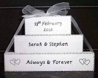 Personalised Wedding/Civil Partnership Blocks for Gift/Keepsake