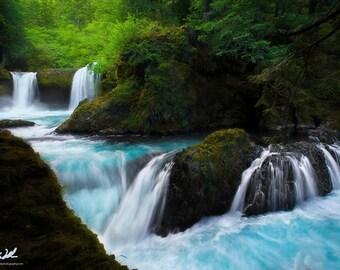 Aquamarine Dreams, waterfall, waterfalls, colorful, washington, wall art, landscape, photography, photo, nature, photo, print,
