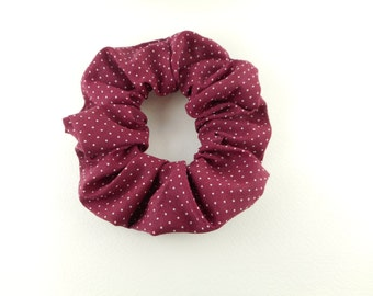 Scrunchie 100 % cotton - red wine and white fine dots