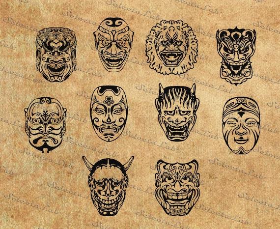 items similar to digital svg png japanese mask old