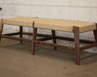 Mid-Century Walnut Bench