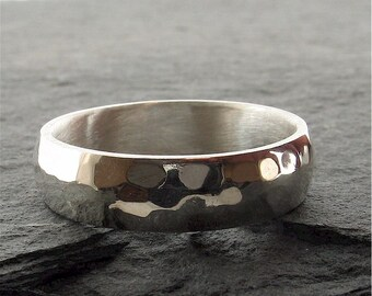Pebble hammered mens wedding ring 6mm wide in silver