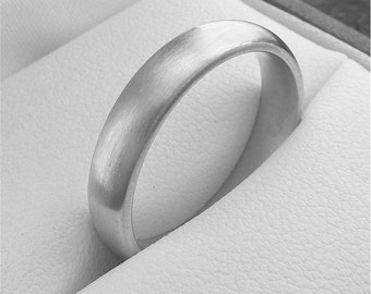 Wedding ring, silver court brushed finish 4mm wide for man or woman