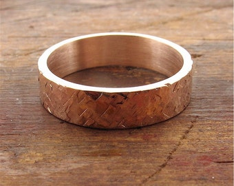 Rose gold Rustic Hammered wedding ring flat style 5mm wide for a man or a woman.