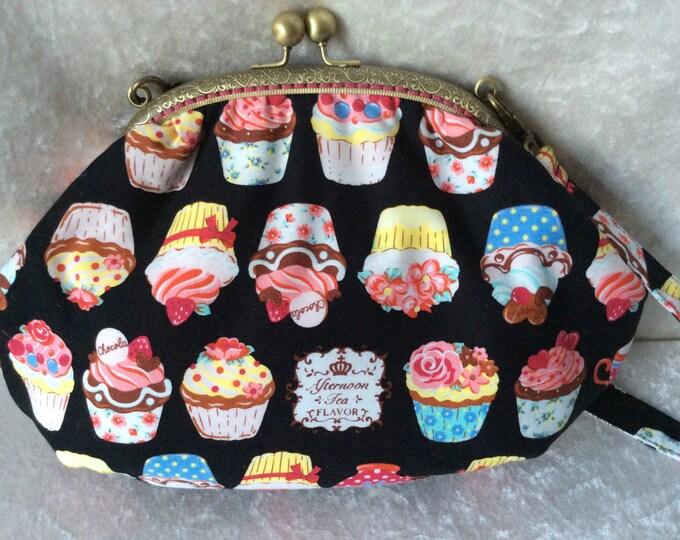 Cupcake Grace Frame Handbag Purse Clutch bag Handmade in England