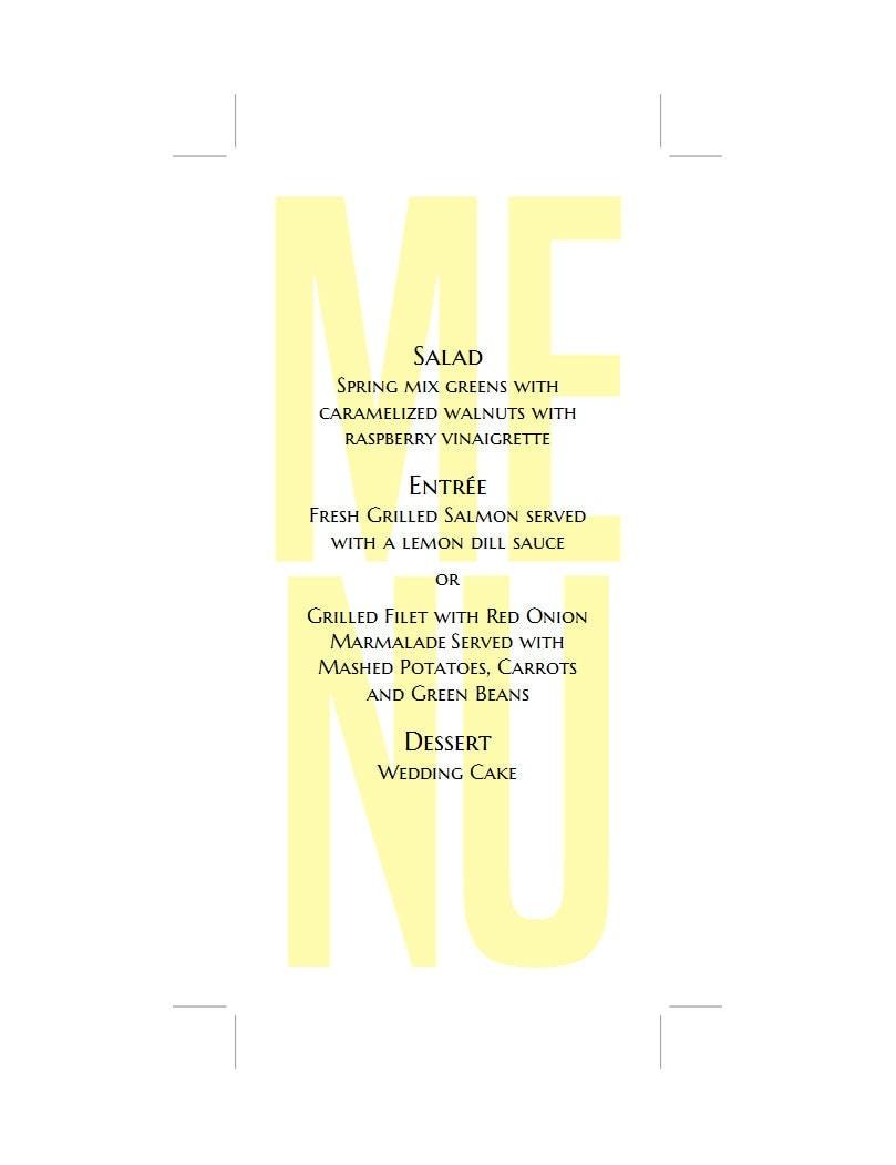 Modern menu template Yellow wedding menu diy Minimalist menu card ...