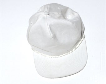 All White Cap with Twisted Cord Brim