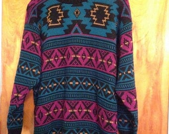 Vintage 1980s Ladies Aztec Navajo Crew Neck Sweater Size Medium EXCELLENT CONDITION