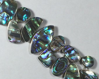 Vintage 925 Sterling Silver Beautiful Abalone Shell Gemstone Bracelet 26.7g 5797