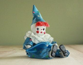 Polka Dot Clown Doll with Porcelain Face