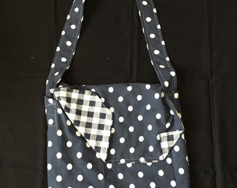 Checks and polka dot reversible messenger bag