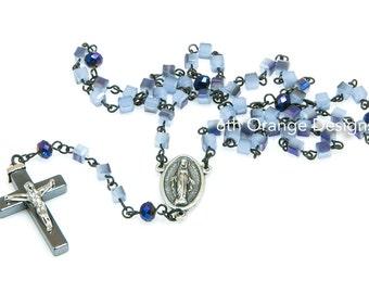 Handmade Purple  Glass Rosary