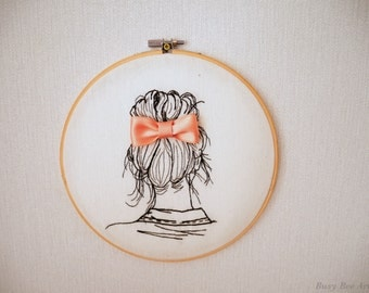 Cute hair bun with a bow - Delicate hand-stitched embroidery hoop
