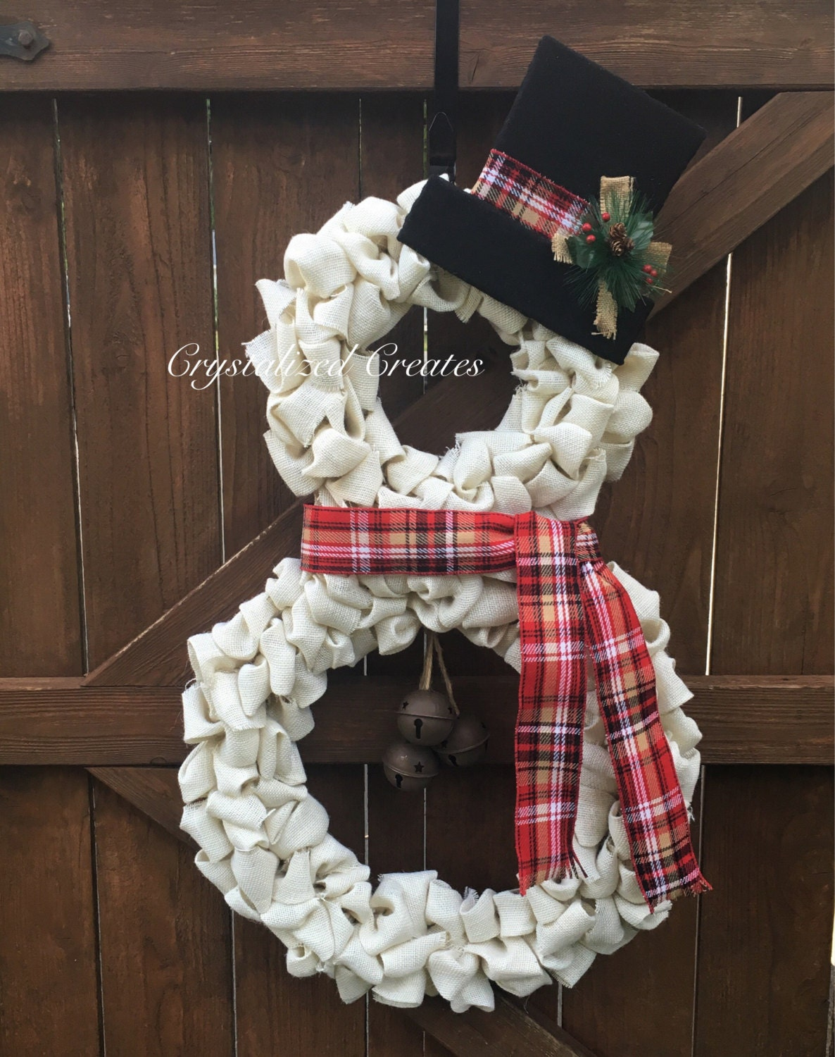 White burlap snowman wreath christmas wreath holiday wreath for Snowman made out of burlap