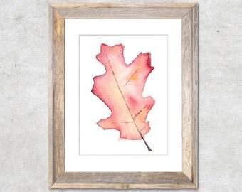 Fall Oak Leaf Original Watercolor Painting