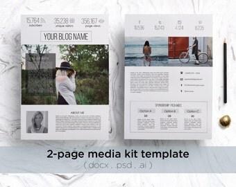 Professional media kit / Modern blog press kit / 2-page media kit template ( clean design )