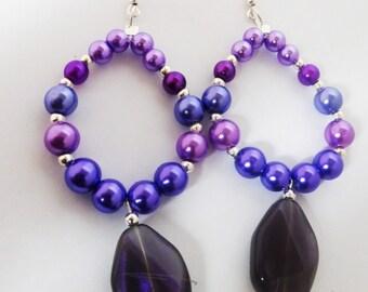 Purple Pearl Earrings - Pearl Earrings - Purple Earrings - Glass Pearl Earrings -Purple Pearl - Purple Pearl Earrings  -Boho Chic