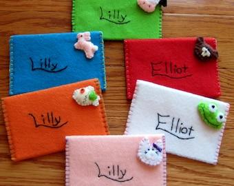 Felt Envelope Personalized Set of 6, Easter Basket Filler, Birthday Party favor, Wedding Favor, Educational & Pretend Play Envelopes, Gift