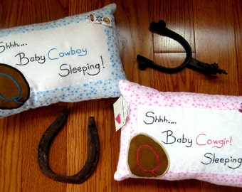 Baby Cowboy Nursery Decor Pillow, Baby Cowgirl Nursery Decor Pillow, Western Nursery Decor, Baby Boy Shower Gift, Baby Girl Shower Gift