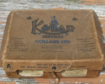 1920s Vintage Collar Laundry Stiff Card Box - Manchester, England - Great Display