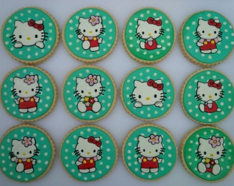 Hello Kitty Cookies - One Dozen Decorated Birthday Cookies / Party Favors