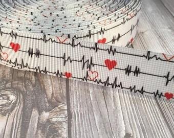 Heart beat ribbon - Nurse love ribbon - Medical ribbon - First responder ribbon - Triage nurse ribbon - EKG ribbon - Nurse appreciation