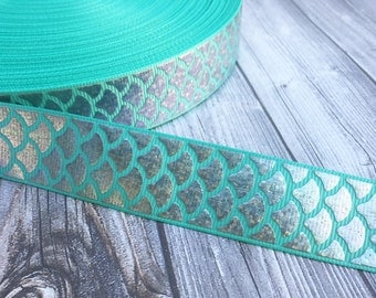 "Mermaid scale ribbon - Be a mermaid - Mermaid ribbon - Teal mermaid - Fish ribbon - Ocean ribbon - Sea life ribbon - 1"" Grosgran ribbon -"