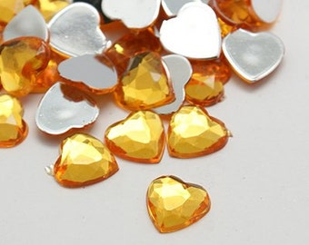 Amber Rhinestones - 18mm Acrylic Rhinestones - Heart rhinestones - Set of 20 - Acrylic cabochons - Flatback heart centers - Jewelry supply