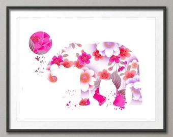 Elephant Art Print, Elephant Decor, Elephant Watercolor Art, Elephant, Elephant Wall Decor