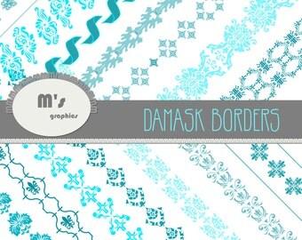 Digital Paper Damask Border Transparent Mediterranean Turquoise. 14 borders with transparent background