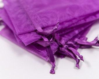 100 Purple Organza Bags   4x6 inch Sheer Bags   Sheer Fabric Bags   Jewelry Pouches    Favor Bags