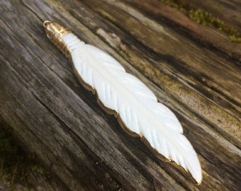 Gold Electroform Bone Carved Feather Pendant / Bead