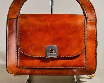 Original F.lli Mugnai Vintage Brown Leather Bag, Handbag, Shoulderbag, Office Bag