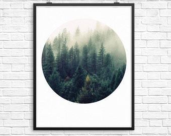 Forest Wall Print, Printable Wall Art, Circle Print, Forest Print, Geometric Print, Forest Photography, Cloud Photography, Forest Art
