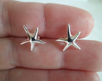 """Tiny stud earrings """"Starfish"""". Sterling silver 925."""