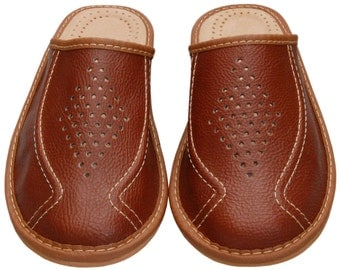 Men LEATHER SLIPPERS, Brown house shoes, Comfortable home moccasins, gift for men,boyfriend him, father, dad, boots, Cheap, Ethnic natural
