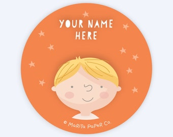Set of 12 Personalized Tags for Kids - Bugs: Light Skin, Blond Hair