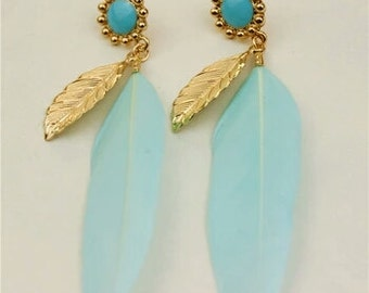 Baby Blue Feather Earrings